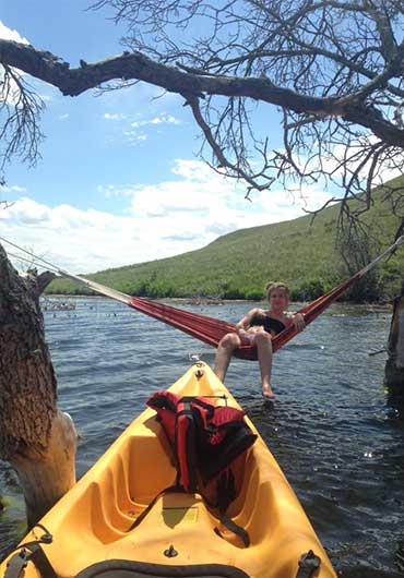 kayaking and relaxing in a hammock at Harmon Lake.