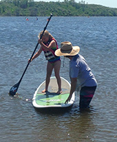 Kids can learn to paddleboard and kayak.